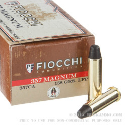 50 Rounds of .357 Mag Ammo by Fiocchi - 158gr LRNFP