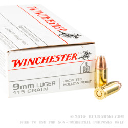 50 Rounds of 9mm Ammo by Winchester USA - 115gr JHP