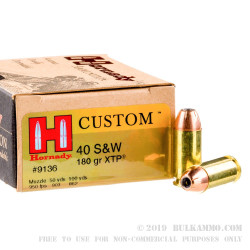 200 Rounds of .40 S&W Ammo by Hornady - 180gr JHP