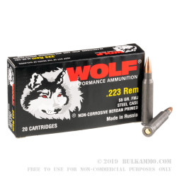1000 Rounds of .223 Rem Ammo by Wolf Performance - 55gr FMJ