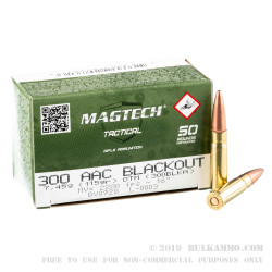 50 Rounds of .300 AAC Blackout Ammo by Magtech First Defense - 115gr OTM