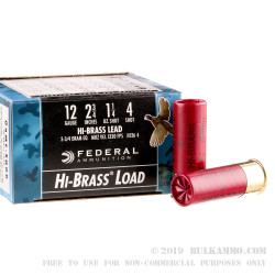 250 Rounds of 12ga Ammo by Federal - 1 1/4 ounce #4 shot