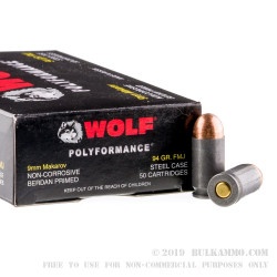 50 Rounds of 9x18mm Makarov Ammo by Wolf WPA Polyformance - 94gr FMJ