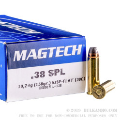 50 Rounds of .38 Spl Ammo by Magtech - 158gr SJSP