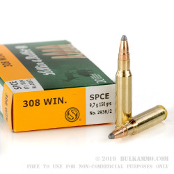 20 Rounds of .308 Win Ammo by Sellier & Bellot - 150gr SPCE