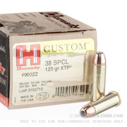 250 Rounds of .38 Spl Ammo by Hornady - 125gr JHP