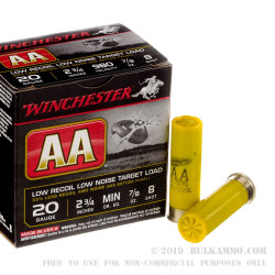 """25 Rounds of 20ga 2-3/4"""" Ammo by Winchester AA Low Recoil Target - 7/8 ounce #8 shot"""
