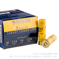 25 Rounds of 20ga Ammo by Fiocchi - 7/8 ounce #7 1/2 shot