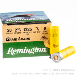 250 Rounds of 20ga Ammo by Remington Game Loads - 7/8 ounce #8 Shot