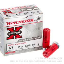 "25 Rounds of 12ga 2-3/4"" Ammo by Winchester Super-X Heavy Game Load - 1 1/8 ounce #6 shot"