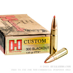 200 Rounds of .300 AAC Blackout Ammo by Hornady Custom - 135gr FTX