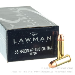 50 Rounds of .38 Spl +P Ammo by Speer Lawman - 158gr TMJ