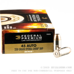 50 Rounds of .45 ACP Ammo by Federal Hydra-Shok- 230gr JHP