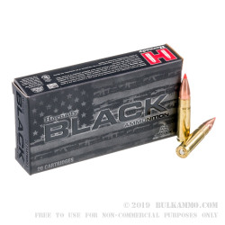 20 Rounds of .300 AAC Blackout Ammo by Hornady BLACK - 110gr V-MAX