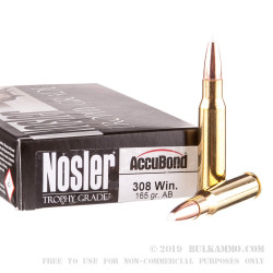 20 Rounds of .308 Win Ammo by Nosler Ammunition - 165gr Nosler Accubond