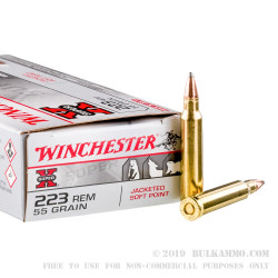 20 Rounds of .223 Ammo by Winchester Super-X - 55gr JSP