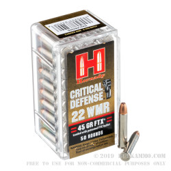 2000 Rounds of .22 WMR Ammo by Hornady Critical Defense - 45 gr FTX