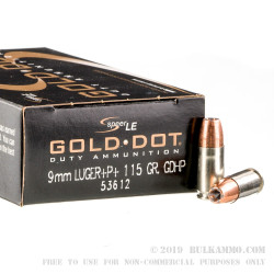 1000 Rounds of 9mm + P + Ammo by Speer Gold Dot - 115gr JHP