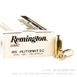 1000 Rounds of .45 ACP Ammo by Remington - 230gr MC
