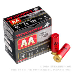 250 Rounds of 12ga Ammo by Winchester AA - 1 1/8 ounce #8 shot