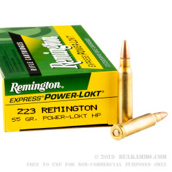 20 Rounds of .223 Ammo by Remington - 55gr PL-HP