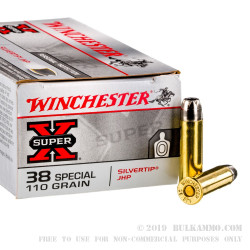 50 Rounds of .38 Spl Ammo by Winchester - 110gr JHP