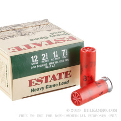 "25 Rounds of 12ga Ammo by Estate Cartridge - 2 3/4"" 1 1/8 ounce #7 1/2 shot"