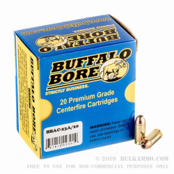 20 Rounds of .40 S&W + P Ammo by Buffalo Bore - 155gr JHP