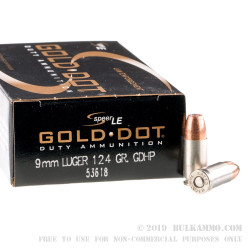 1000 Rounds of 9mm Ammo by Speer LE - 124gr JHP