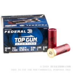 250 Rounds of 12ga Ammo by Federal Top Gun Sporting - 1 ounce #8 shot