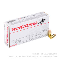 500 Rounds of .40 S&W Ammo by Winchester - 165gr FMJ
