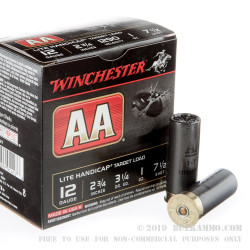 """25 Rounds of 12ga 2-3/4"""" Ammo by Winchester AA Lite Handicap - 1 ounce #7 1/2 shot"""