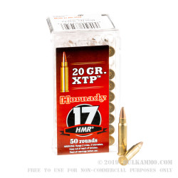 50 Rounds of .17HMR Ammo by Hornady - 20gr JHP - XTP