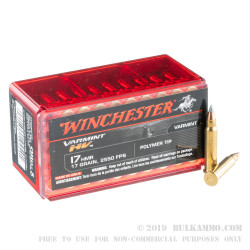 50 Rounds of .17HMR Ammo by Winchester - 17gr V-Max