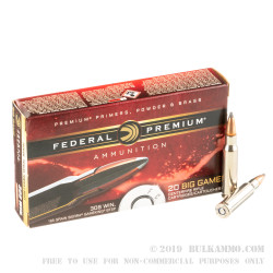 20 Rounds of .308 Win Ammo by Federal Premium - 165gr Sierra GameKing SPBT
