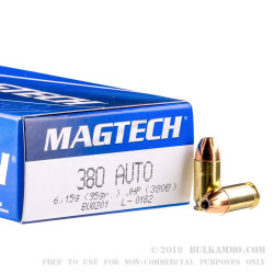 1000 Rounds of .380 ACP Ammo by Magtech - 95gr JHP