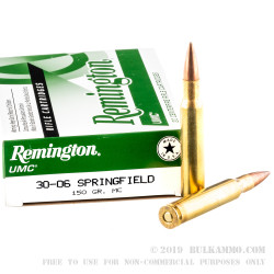 200 Rounds of 30-06 Springfield Ammo by Remington UMC - 150gr MC