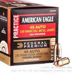 100 Rounds of .45 ACP FMJ & 20 Rounds of Federal Hydra-Shok JHP Ammo Combo Pack Combo Pack - 230gr JHP/ FMJ