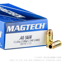 50 Rounds of .40 S&W Ammo by Magtech - 180gr JHP