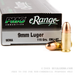 50 Rounds of 9mm Ammo by PMC eRange - 115gr EMJ-NT