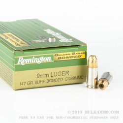 50 Rounds of 9mm Golden Saber Bonded Ammo by Remington - 147gr JHP