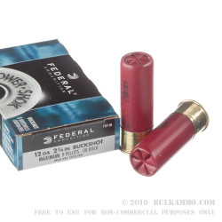 5 Rounds of 12ga Ammo by Federal Power Shok -  00 Buck