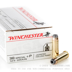 500 Rounds of .38 Spl Ammo by Winchester USA - 125gr JHP +P