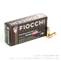 50 Rounds of 9mm Ammo by Fiocchi - 100gr Frangible