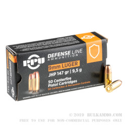 2000 Rounds of 9mm Ammo by Prvi Partizan - 147gr JHP