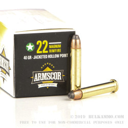 50 Rounds of .22 Magnum Ammo by Armscor - 40gr JHP