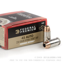 500 Rounds of .45 ACP Ammo by Federal Premium - 230gr Hydra-Shok JHP