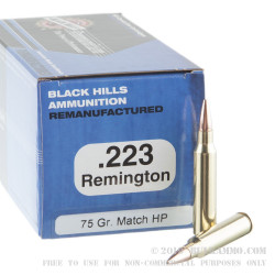 50 Rounds of .223 Ammo by Black Hills Ammunition - 75gr HP