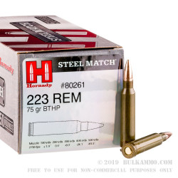 50 Rounds of .223 Ammo by Hornady Steel Match - 75gr HPBT