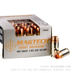 20 Rounds of .40 S&W Ammo by Magtech First Defense - 130gr SCHP